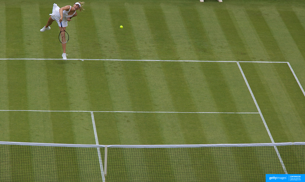 Maria Sharapova, Russia in action during her victory over Viktoriya Kutuzova, Ukraine, in the first round of  the All England Lawn Tennis Championships at Wimbledon, London, England on Monday, June 22, 2009. Photo Tim Clayton.