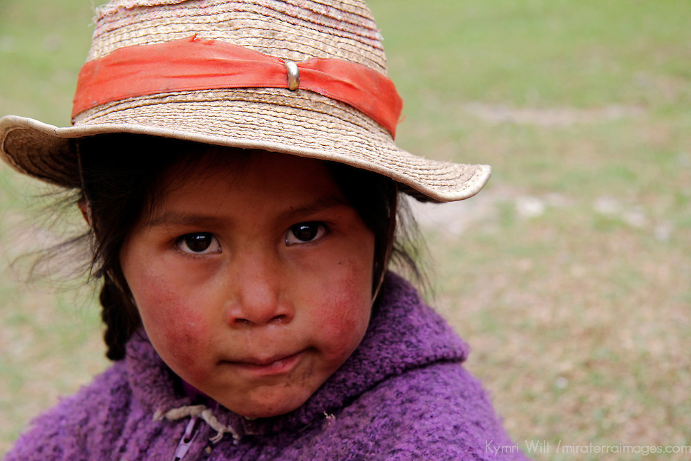South America, Peru, Willoq. Peruvian Willoq Girl in Hat.