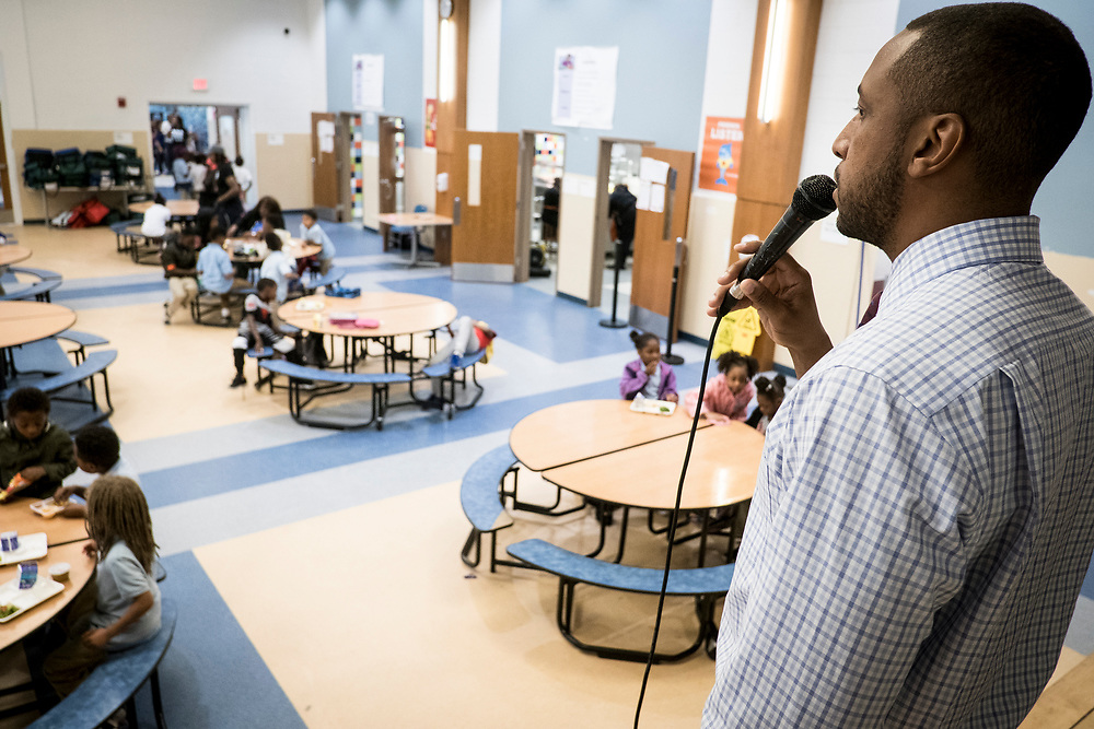 Eric Bethel, principal at Turner Elementary School in Washington, D.C., monitors the lunchroom on Wednesday, May 4, 2017.