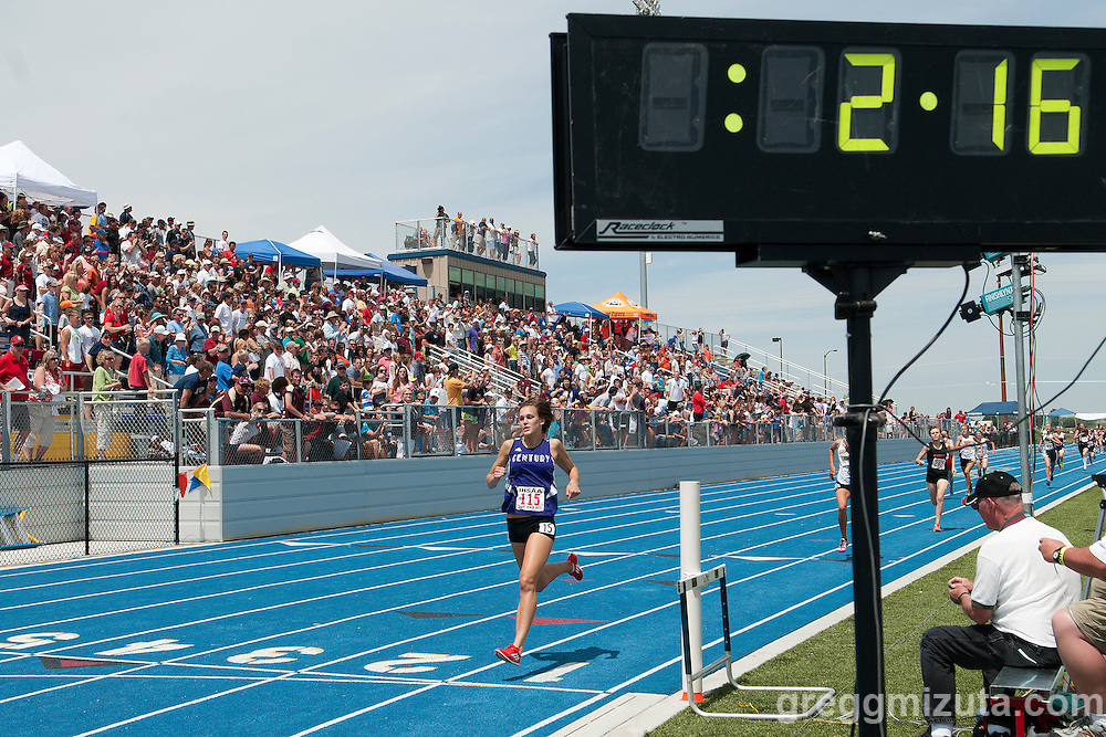 Century junior Hannah McInturff wins the 4A Idaho Track and Field Championships 800 meter run on May 19, 2012 at Middleton High School, Middleton, Idaho. McInturff defended her title with a winning time of 2:17.96 and was followed by Bishop Kelly's Briana Tiffany (2:18.90), Jerome's Jasmine Nesbitt (2:18.90) and Bishop Kelly's Emily Nist (2:20.45).