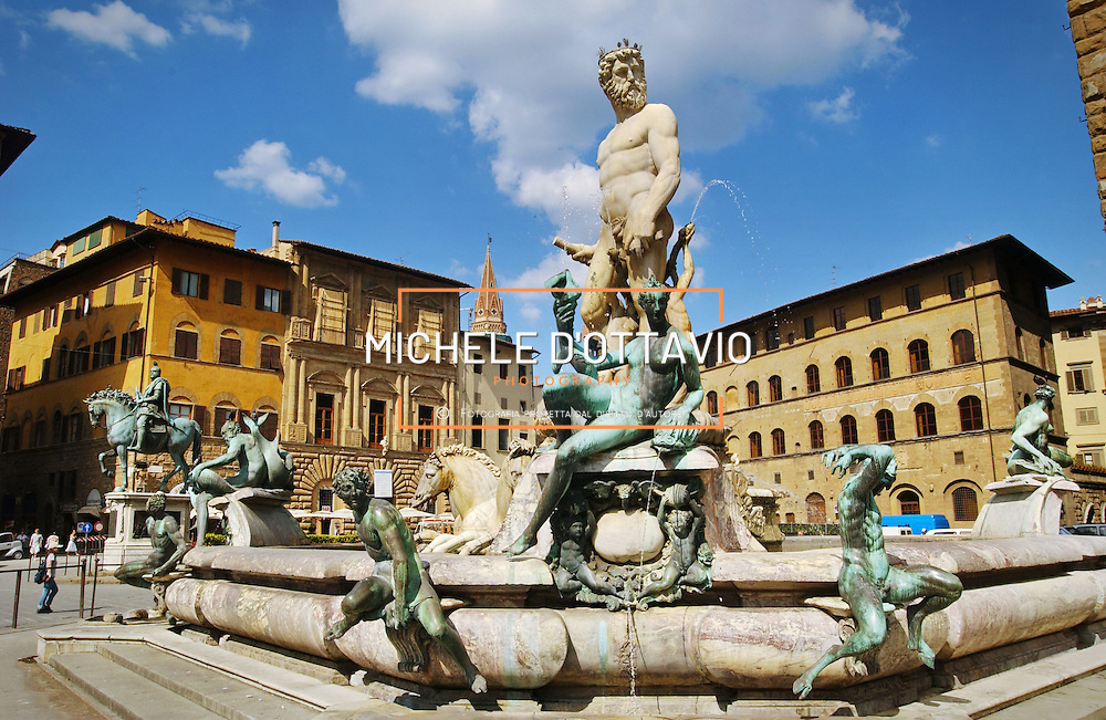 FLORENCE, ITALY - June 3, 2013 : View of famous square of Florence, Piazza Della Signoria with historical big sculptures around.