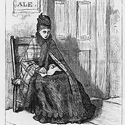 """Vintage Illustration:  """"The Sentinel - taking down names at a drinking saloon""""   Woman's crusade against intemperance later known as The  Woman's Christian Temperance Union (WCTU). The scene is illustrated by Mrs. C. S. Reinhart of the events in Xenia, Ohio. Alcohol abuse, social movements, health,   Harper's Weekly 1874"""