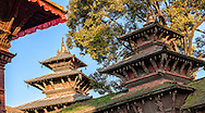 Upper levels and roofs of some temples in Kathmandu's Durbar Square.