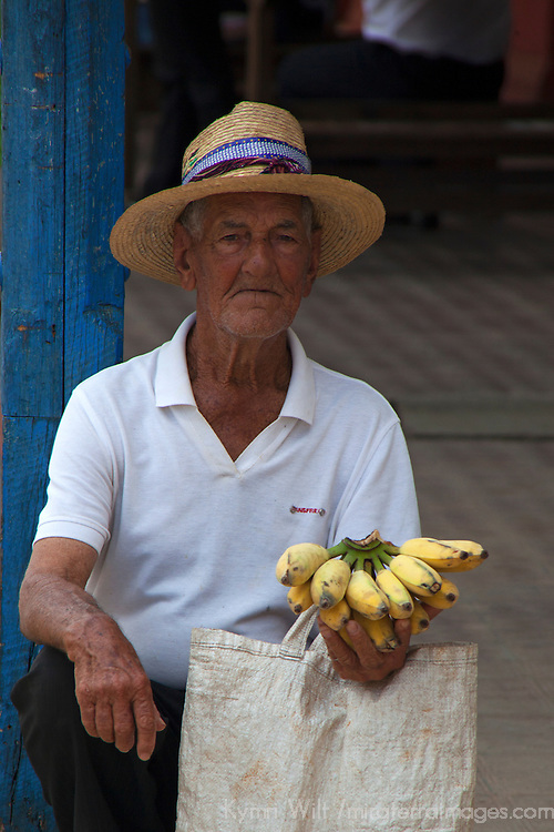 Central America, Cuba, Remedios. Cuban banana man of Remedios.