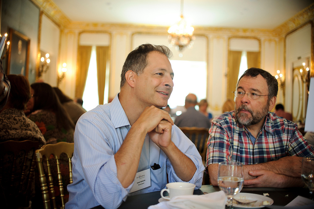 (photo by Matt Roth).Assignment ID: 30127886A..The third annual BSO Academy kicked off with a brunch at the Engineers Club in Balitmore, MD Sunday, June 24, 2012. New York Times writer and BSO Academy clarinet student Dan Wakin, left, talks with the Baltimore Symphony Orchestra's principal clarinet player Steven Barta...