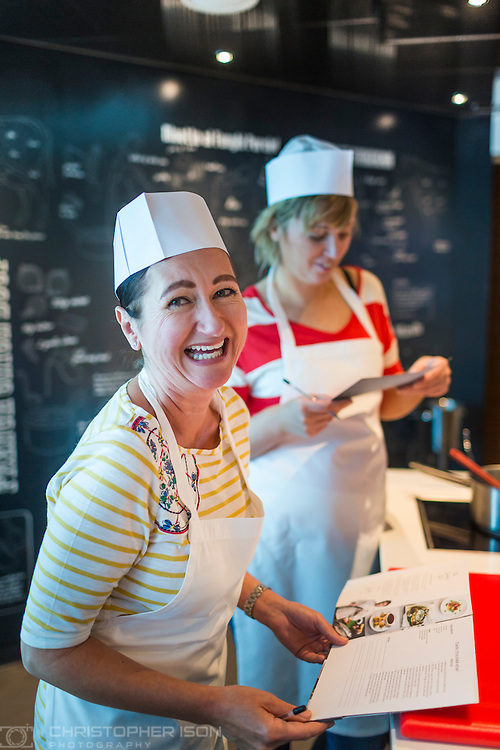 Passengers at a Cookery Club with chefs Pierre Koffman and James Martin aboard P&amp;O Cruises'  Britannia.<br /> Picture date: Tuesday June 16, 2015.<br /> Photograph by Christopher Ison &copy;<br /> 07544044177<br /> chris@christopherison.com<br /> www.christopherison.com