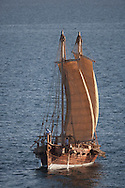 """16th February 2010. Muscat. Oman..Pictures of the """"Jewel of Muscat""""  shown here underway hours after leaving her home port of Muscat as they sail along the Omani shoreline and recreate the origanol historic journey to Singapore."""