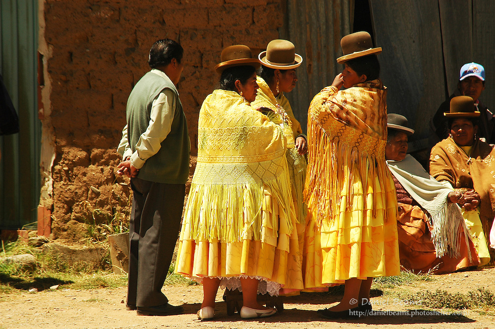 People outside an evangelical church service, La Paz, Bolivia