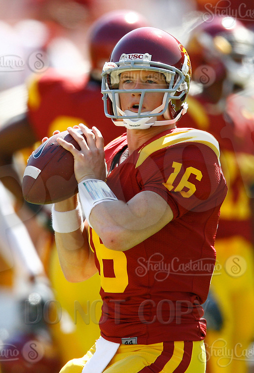 11 October 2008: NCAA Pac-10 USC Trojans 28-0 shut-out win over the Arizona State University Sun Devils during a day college football game at the Los Angeles Memorial Coliseum in Southern California. Trojans quarterback #16 Mitch Mustain.