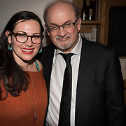 Sarah Hanssen and Salman Rushdie at the 'Still Waters in a Storm' benefit at The City Winery NYC. <br /> <br /> Still Waters in a Storm is a free school for children in the neighborhood of Bushwick, Brooklyn.Volunteers offer homework help and classes in reading, writing, violin, music composition, yoga and Latin, all free of charge to low-income families in the neighborhood.