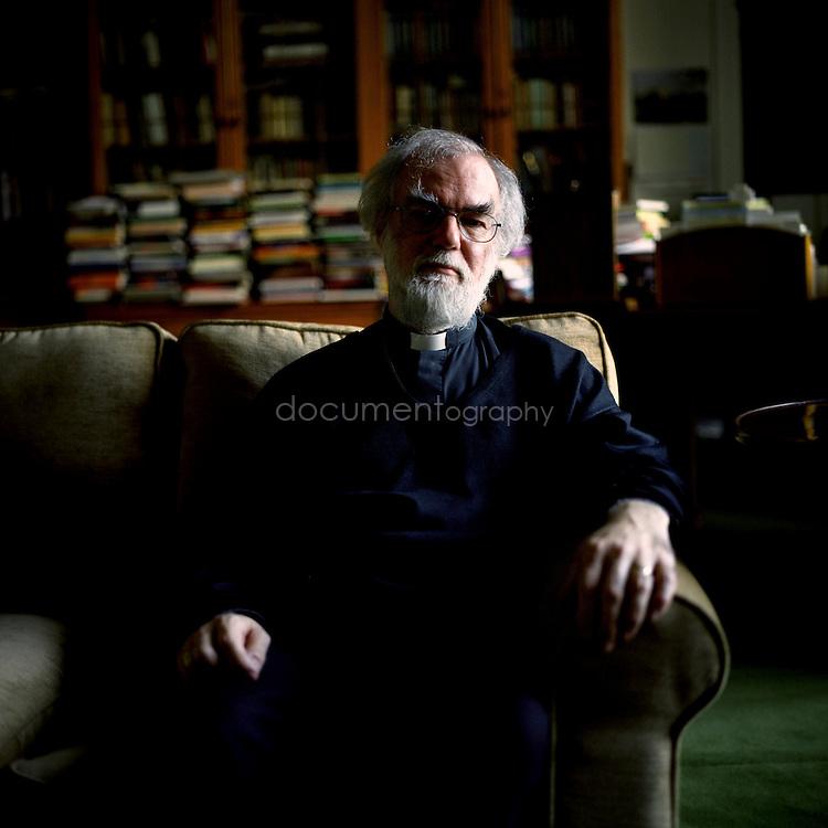 Rowan Williams, Archbishop of Canterbury in his study at Lambeth Palace, London.
