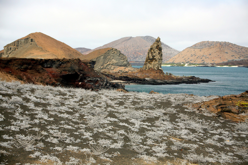 Pinnacle Rock accross the desolate landscape of Bartholomew Island in the Galapagos. Ecuador, South America.
