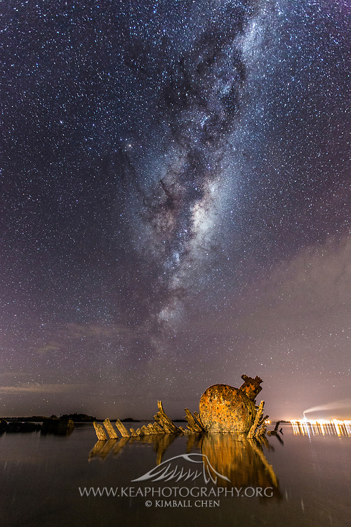 Milky Way over a shipwreck at Greenpoint, Bluff, New Zealand