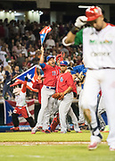 CULIACAN, MEXICO - FEBRUARY 7, 2017: Players and coaches from Puerto Rico celebrate on the field after defeating Mexico in the tenth inning, during the Caribbean Series championship game at Estadio de los Tomateros on February 8, 2017 in Culiacan, Rosales. (Photo by Jean Fruth)