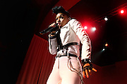 Janelle Monae performs live on stage at 02 Academy Brixton on May 9, 2014 in London, England.  (Photo by Simone Joyner)
