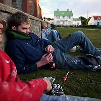 Kids hangout in a park in Stanley, the capital of the Falkland Islands, on Wednesday, March 21, 2007. (Photo/Scott Dalton)