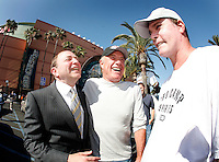 30 May 2007: Commissioner Gary Bettman chats with actor James Caan and Ray Leota before the NHL Anaheim Ducks defeated the Ottawa Senators 1-0 in game two of the Stanley Cup playoffs in the sold out Honda Center on in Southern California.