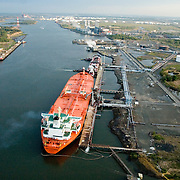 Aerial view of the oil terminals in north jersey and Eagle Baltimore tanker petroleum ship at the linden terminals in new jersey.