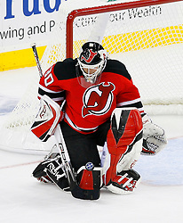 April 9, 2008; Newark, NJ, USA;  New Jersey Devils goalie Martin Brodeur (30) makes a save during the third period of game 1 of the Eastern Conference Quarterfinal playoffs at the Prudential Center in Newark, NJ.  The Rangers defeated the Devils 4-1 to take a 1-0 lead in the best of 7 series.