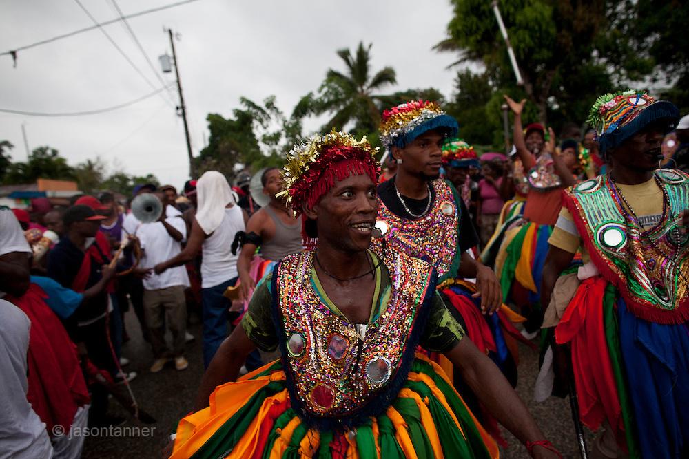 Dominican Republic:  Musicians, Dancers, Mayores  perform as part of the GaGá  procession of El GaGá de San Luis....