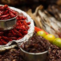 Dried crawfish used in regional salsas, Merced Market.