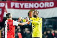 ROTTERDAM - Feyenoord - AZ , Voetbal , Seizoen 2015/2016 , Halve finales KNVB Beker , Stadion de Kuip , 03-03-2016 , Keeper van Feyenoord Kenneth Vermeer viert het feestje samen met Speler van Feyenoord Bilal Basaçikoglu (l)