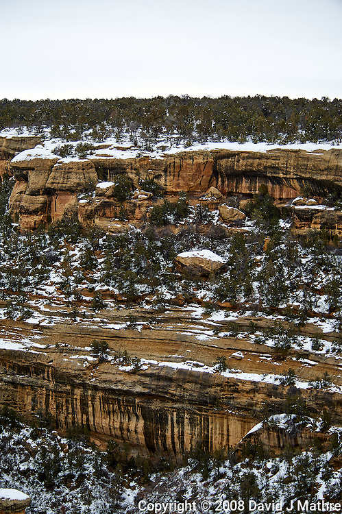 Mesa Verde National Park winter canyon view. Image taken with a Nikon D3 camera and 80-400 mm VR lens (ISO 200, 80 mm, f/4.5, 1/200 sec).
