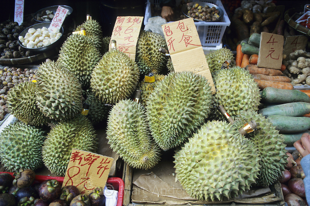 Durian fruits on a fruit stall, Reclamation Market, Hong Kong, China.