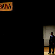 Security preparing for the entrance of Michelle Obama during a speech on behalf of her husband, presidential candidate Barack Obama at San Jose State University Sunday, Feb. 3, 2008 in San Jose, Calif.