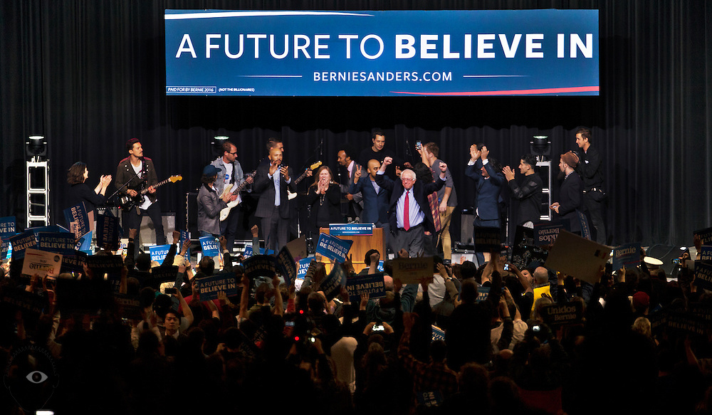 """Democratic Presidential candidate Bernie Sanders celebrates with an energetic crowd during an """"A Future to Believe In Concert & Rally"""" at the Henderson Pavilion on Friday, February 19, 2016. L.E. Baskow"""