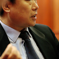 QINGDAO, MARCH 2005 :  Zhang Ruimin, CEO of Hai'er , during an interview in the companies' headquarters.