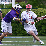 Albany Midfielder STONE SIMS (25) and  University of Maryland Attackman TIM ROTANZ (7) in action during the second half of a 2017 NCAA Division I Men's Lacrosse Quarterfinals game between #1 Maryland and #8 Albany Sunday, May. 21, 2017 at Delaware Stadium in Newark, Delaware.