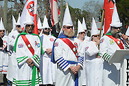 NAHUNTA, Georgia, February 20, 2010: About 50 members of the Georgia Knight Riders and Knights of the Ku Klux Klan rallied for a crowd of more than 500 on in the town of Nahunta, Ga., about 275 miles southeast of Atlanta. Klan members stood in ornate robes and pointed hoods with faces exposed in front of a crowd of mostly enthusiastic onlookers for a two-hour rally. The few hecklers in the crowd were harshly scolded by supporters, while several dozen protesters, including the NAACP rallied nearby.<br />