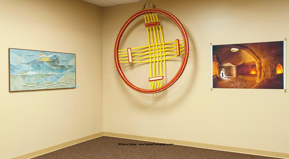"Photograph by Wayne Eastep of a Zoroastrian temple at Shakbak-ata, Kazakhstan.  Yurt Shangiraq and Caravan leather artwork by Amangul Ikhanova and Zhangir Umbetov.  Shown In the ""Offsite Insights"" exhibit at Eckerd College."