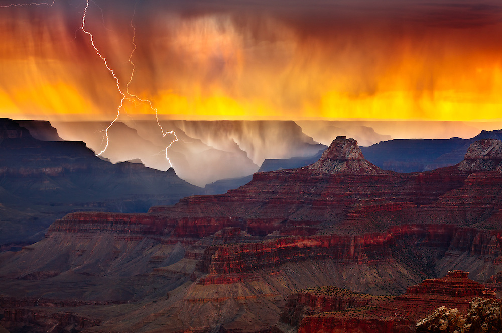 Lightning strikes the South Rim of Grand Canyon National Park near Hopi Point. Captured from Cape Royal on the North Rim of the park nearly 12 miles away. Zoroaster Temple is the prominent feature in the foreground.