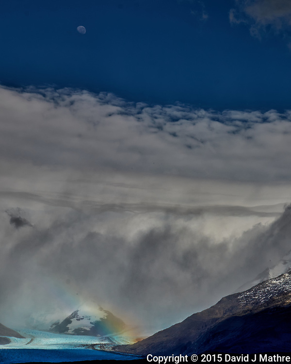 Rainbow over a glacier in Patagonia. Image taken with a Fuji X-T1 camera and  55-200 mm lens (ISO 200, 55 mm, f/16, 1/500 sec).