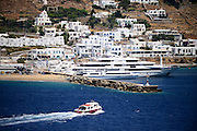 View of Mykonos from cruise ship