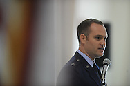 Captain Nathan McCartney speaks during a Memorial Day ceremony at the National Guard Armory  in Oxford, Miss. on Monday, May 27, 2013.