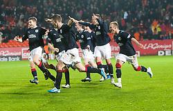 FAlkirk's team cele beating Utd...Falkirk win on penalties. Dundee Utd 2 v 2 Falkirk. Scottish Communities League Cup, 25/10/2011..Pic © Michael Schofield.