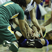 George Mason Forward Joyous Tharrington (33) battles for the loose ball during a regular season NCAA basketball game against Delaware Thursday, Jan 10, 2013 at the Bob Carpenter Center in Newark Delaware...Delaware (10-3; 1-0) defeated George Mason (5-8; 0-2) 62-27..Delaware is riding a four-game winning streak after defeating George Mason, St. John's in over- time on Jan. 2 and Villanova (Dec. 29) and Duquesne (Dec. 30) to capture the 2012 Dartmouth Blue Sky Classic title.