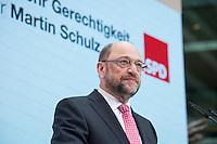 30 JAN 2017, BERLIN/GERMANY:<br /> Martin Schulz, SPD, Kanzlerkandidat und designierter Parteivorsitzender, waehrend einer Pressekonferenz nach der Klausurtagung der SPD Spitze, Willy-Brandt-Haus<br /> IMAGE: 20170130-01-016