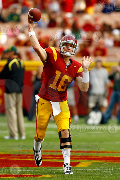 4 October 2008: Backup Quarterback #16 Mitch Mustain in his sophmore year throws the football during NCAA College Football Pac-10 conference USC Trojans 44-10 win over the University of Oregon Ducks at the Los Angeles Memorial Coliseum in Los Angeles, California.