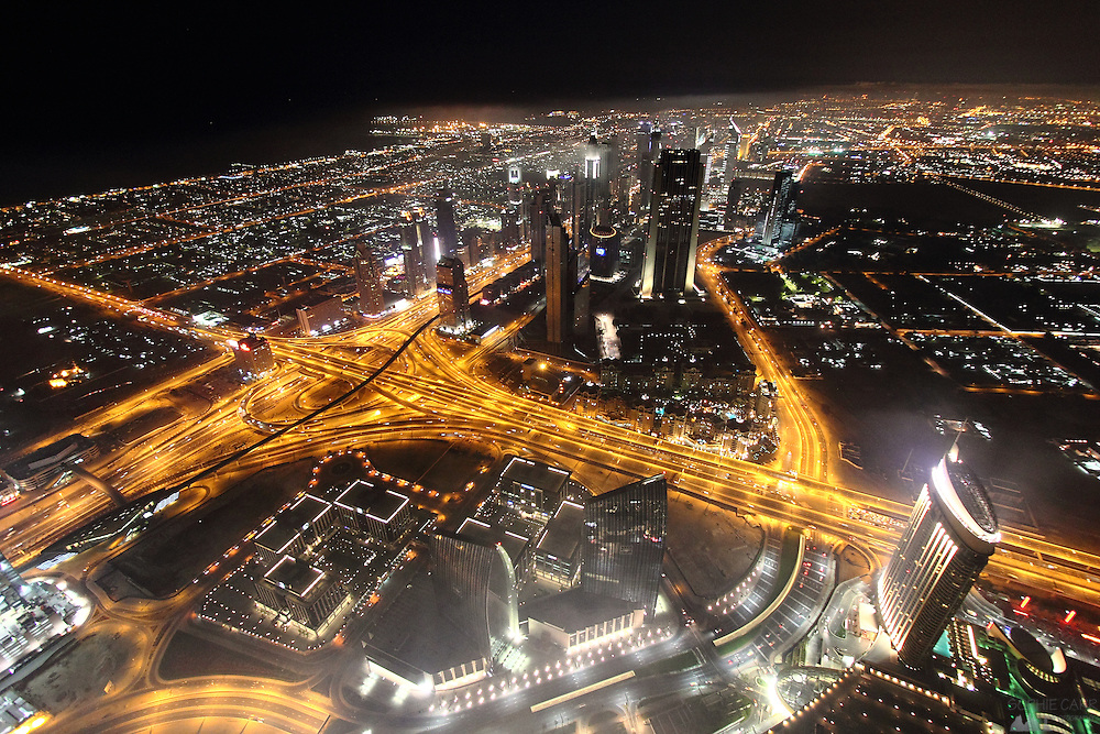 "This is a view of Dubai city at night from ""At The Top"" - a viewing platform near the top of the world's tallest building (in 2011), the Burj Khalifa"