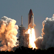 The launch of the Space Shuttle Discovery in 2005