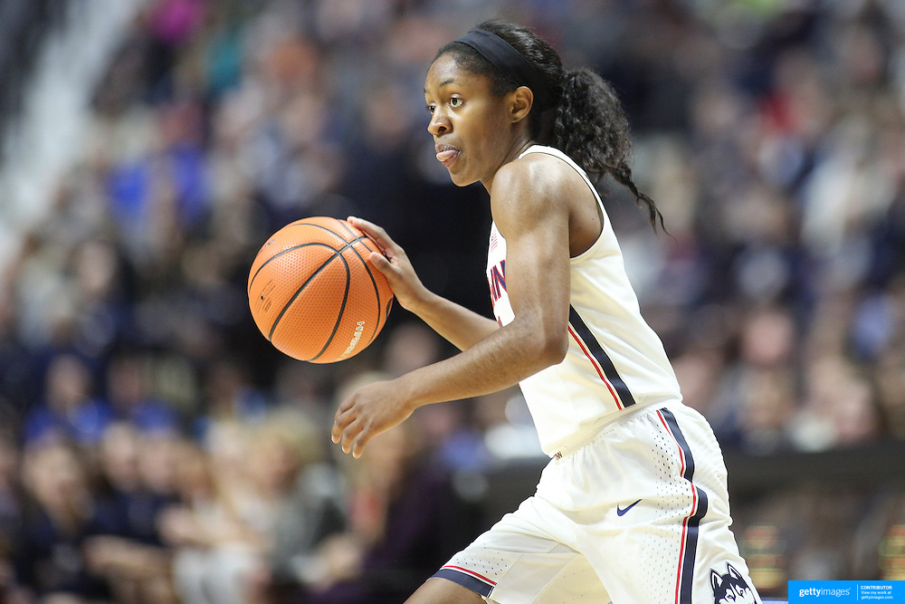 UNCASVILLE, CONNECTICUT- DECEMBER 4: Crystal Dangerfield #5 of the Connecticut Huskies in action during the UConn Huskies Vs Texas Longhorns, NCAA Women's Basketball game in the Jimmy V Classic on December 4th, 2016 at the Mohegan Sun Arena, Uncasville, Connecticut. (Photo by Tim Clayton/Corbis via Getty Images)