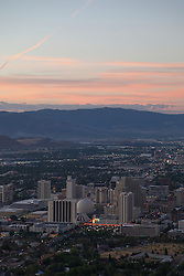 """Downtown Reno Sunrise Aerial 2"" - This aerial photograph of Downtown Reno at sunrise was photographed from a hot air balloon during the 2012 Great Reno Balloon Race Dawn Patrol."