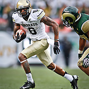 SHOT 9/1/13 6:30:04 PM - Colorado's Paul Richardson #6 runs with the ball after hauling in one of his 10 catches for 208 yards against Colorado State during the 2013 Rocky Mountain Showdown at Sports Authority Field at MiIe HIgh Stadium in Denver, Co. Colorado won the annual in-state rivalry 41-27. (Photo by Marc Piscotty / © 2013)