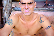 Man with tattoos in Baracoa, Guantanamo, Cuba.