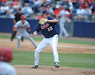 Mississippi's Chris Ellis (10) vs. Arkansas at Oxford-University Stadium in Oxford, Miss. on Sunday, April 22, 2012. Arkansas won 11-3.