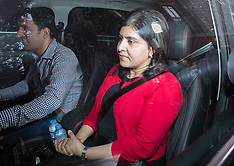 AUG 05 2014 Baroness Warsi leaves her residence after resigning